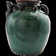 Large Chinese Hunan Province Green Glaze Pottery Teapot