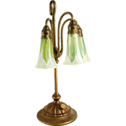 American Tiffany Three-Light Lily Table Lamp and Shades