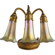 American Tiffany Studios Bronze Three-Light Lily Table Lamp Base