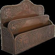 SOLD American Tiffany Studios Bronze Zodiac Pattern Letter Rack