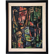 SOLD PAUL KAUVAR SMITH Oil on Board Painting, Faces
