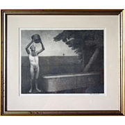 SOLD GRANT WOOD Lithograph, Sultry Night