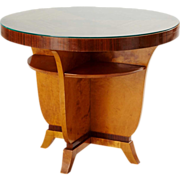 Art Deco Modern Mahogany, Birch Veneer and Glass Round Side Table