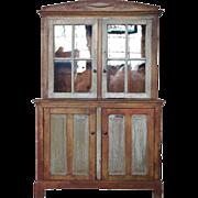 Portuguese Painted Pine Glazed Door Step-back Cupboard