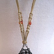 SALE Art Nouveau Ca 1915 Sterling Silver and Silk Sautoir Necklace With Carnelian & Silver Tas