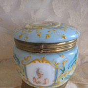 Antique French Opaline Glass Powder Box Enamel Painted Gilt