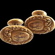 Victorian Ca 1880 14Kt Yellow Gold Repousse Cufflinks