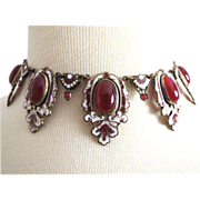 The Best Art Deco Czech Necklace Large Stones + Enamel