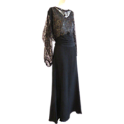So Elegant!! 1930s Art Deco Gold Lame Lace Crepe Column Gown Wow!!