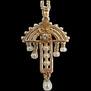 SOLD Exquisite Victorian Ca 1880 14K Diamond Lavalier Drop Dangles Baby Pearls