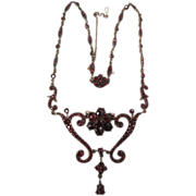 Victorian Ca 1880 Bohemian Garnets Festoon Necklace Gold Filled
