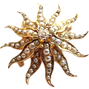 Lovely Victorian Ca 1880 Star Fish Shaped 14Kt Gold Pearls Diamond Pendant Brooch