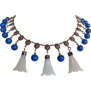 Art Deco 1920s Chinese Green Jade, Lapis, Fringe Necklace