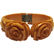 Carved Bakelite Clamper Bracelet Roses Leaves Golden Yellow All Original