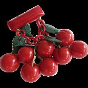 Vintage 1930s Bakelite Cherry Pin Eight Cherries Five Leaves All Original