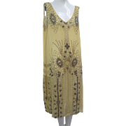 SOLD Vtg 1920s Flapper Dress Prong Set Rhinestones Glass Beads Yellow Silk