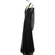 1930s Chantilly Lace & Silk Floor Length Gown Illusion Top Glove Sleeves