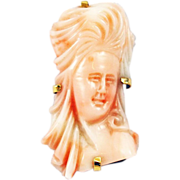 14KT Gold  Antique Carved Italian Angel Skin Coral Brooch Cameo Bust