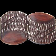 Carved Brown Bakelite Belt Buckle - Art Deco