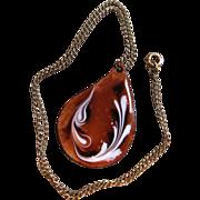 Vintage Enamel Pendant on 12K Gold Filled Necklace