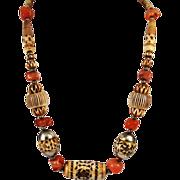 Vintage Carved Bone & Agate Ethnic Tribal Necklace