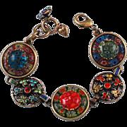 Sweet Romance Millefiori & Rhinestone Floral Bracelet & Earrings Set Signed