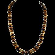 Vintage Gold Filled Tiger's Eye Beaded Necklace - Graduated