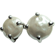 Carolee Sterling Silver- Faux Pearl Earrings Large Clip On