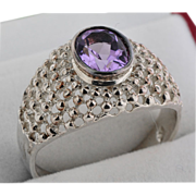 Sterling Ring in Filigree Motif w/Amethyst