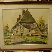 Framed, Vintage Watercolor on Artist's Board, Half-Timbered House