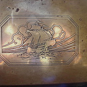 SALE Brass Clad Box with Square-Rigged Ship Design Etched on Lid