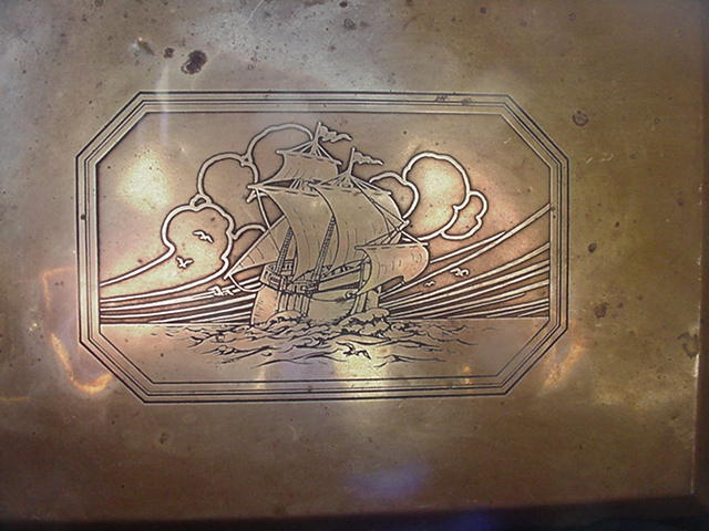 Brass Clad Box with Square-Rigged Ship Design Etched on Lid
