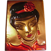 Fabulous California Copper Plaque of Chinese Girl, Wanda Irwin Original, 1948