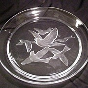 Vintage Art Glass Crystal Charger, Intaglio Birds in Flight Filling Center, Frosted