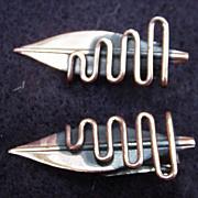 Vintage Pair of Copper Leaf Earrings by Renoir, Clips