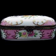 SALE Vintage Hand-Painted Porcelain Box with Metal Encased Rims