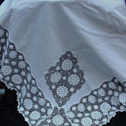 Vintage Tablecloth with Deep Borders and Inset Panels of Lace