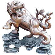 Vintage Chinese Wood Carving, Snarling Tiger