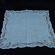 SALE Fine Cotton Handkerchief with Deep Borders of Lace and Elaborate Corners