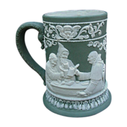 SALE Fabulous Jasperware Stein with High Relief Tavern Scenes, Monks