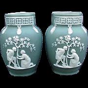 Pair of German Made Green Jasperware Vases