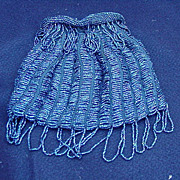 Vintage Drawstring Handbag Covered with Tiny Blue Beads