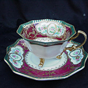 Japanese Cup and Saucer, Shofu China, Beaded Slip Gold Accents
