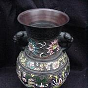 Japanese Champleve Vase with Enamel Motifs