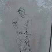 SALE Pencil Drawing of Baseball Legend Wally Pipp, Artist Signed, 1989