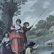 SALE Hand-Colored Engraving of 18th Century Family Fishing by William Hamilton, England, ""