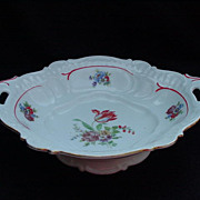 Bavarian Porcelain,Tulip-Decorated Serving Bowl with Recessed Handles