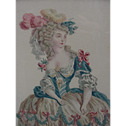 SALE Hand-Colored Engraving of 18th C. Woman in Elaborate Dress