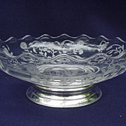 Sterling  BaseTidbit Bowl, Elegant Glass with Etched Florals on Glass