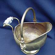Vintage Brass Coal Hod with Delft Handle, Miniature